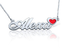 Enamel Name Necklace with Heart