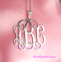 Pendant Vine Monogram Necklace Classic Style
