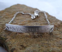 Engraved ID Bar Bracelet with Birthstone Block Script