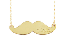 Engraved Moustache Pendant Necklace
