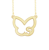 Butterfly Initial Pendant Necklace