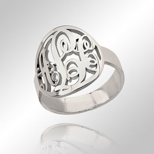 Monogram Ring In Circle Script Style