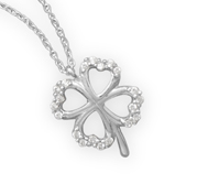 Four Leaf Clover Necklace with CZ Stones