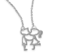 Kissing Boy and Girl Necklace Pendant