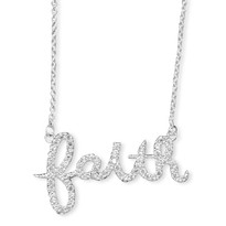Faith Necklace Pendant Covered in CZ Sterling Silver