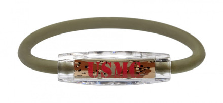 The IonLoop USMC Marines Bracelet contains negative ions and magnets. (front view)