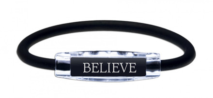 The IonLoop Black Believe Bracelet contains negative ions and magnets. (front view)