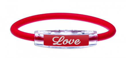 IonLoop Ruby Red LOVE Bracelet (front view)