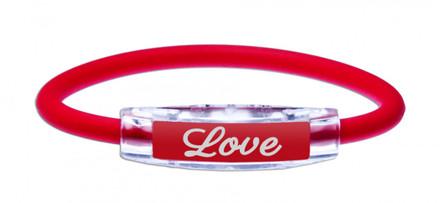 IonLoop Ruby Red LOVE Bracelet (front view)