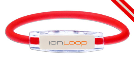 IonLoop Ruby Red & White Game Day Bracelet contains negative ions and magnets (front view)