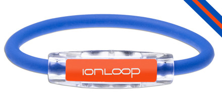 IonLoop Royal Blue & Orange Game Day Bracelet contains negative ions and magnets (front view)