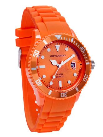 Orange Unisex IonTime Sport Wrist Watch (Angle)