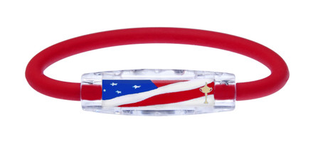 IonLoop Ryder Cup Team USA Flag Bracelet contains negative ions and magnets. (front view)