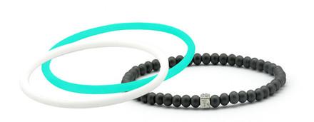 mag/fusion Turquoise Sea + Pearl White  Pak 1 mag/fusion magnetic Bracelet, 2 IonThins  (Turquoise Sea + Pearl White)