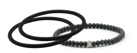 mag/fusion Jet Black + Jet Black  Pak 1 mag/fusion magnetic Bracelet, 2 IonThins  (Jet Black + Jet Black )