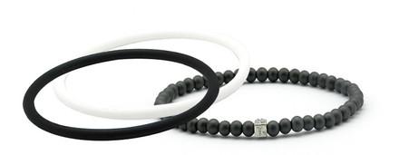mag/fusion Jet Black + White  Pak 1 mag/fusion magnetic Bracelet, 2 IonThins  (Jet Black +  White)