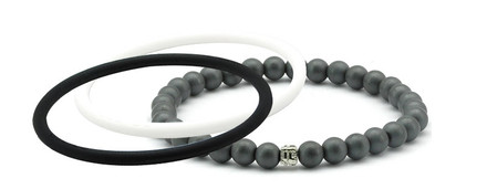mag/fusion +Plus Jet Black + White Pearl 1 mag/fusion PLUS magnetic Bracelet, 2 IonThins  (Jet Black + White Pearl)