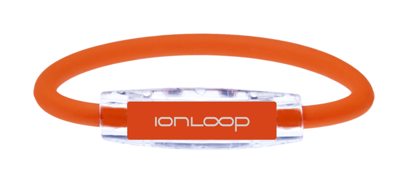 The IonLoop Orange Bracelet contains negative ions and magnets. (front view)