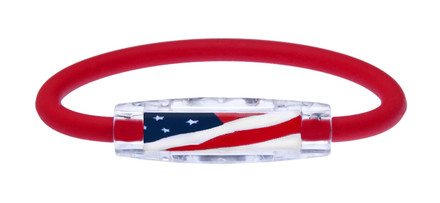IonLoop Red USA Flag Bracelet contains negative ions and magnets. (front view)