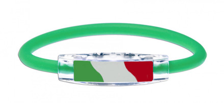 IonLoop's Italy Flag Bracelet with Magnets & Negative Ions (front view)