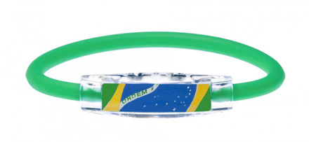 IonLoop's Brazil Flag Bracelet with Magnets & Negative Ions (front view)