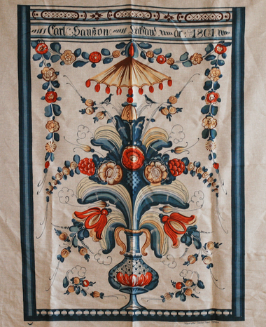 Here is the epitome of a glorious, silk-screened linen! So many colors that they can hardly be listed! Carl Hanson was the artist, from Leksand. The year, 1801 is at the top. Note the antiquated script of the time.