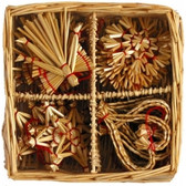 24 Piece Straw Ornament Basket