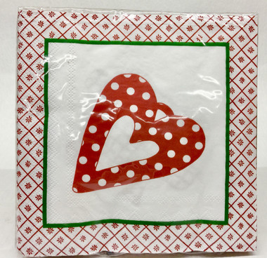 Christmas Heart Cocktail Napkin