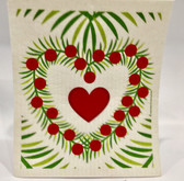 Christmas Heart Wreath Swedish Dishcloth
