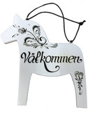 Dala Horse Vålkommen sign (white)