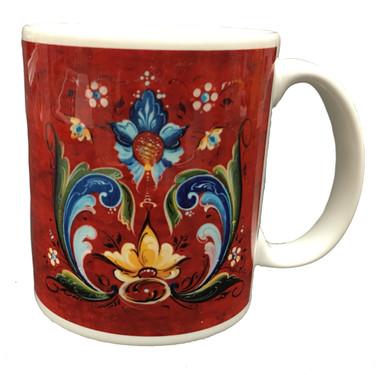Norwegian Red Rosemaled Mug