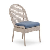 6711 Outdoor Wicker  Dining Chair in Sand White Finish.