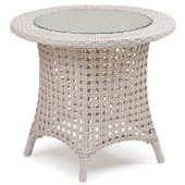 6720 Outdoor Wicker End Table in White Sand Finish.