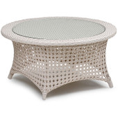 6729 Outdoor Wicker Cocktail Table in White Sand Finish.