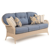 6703 Outdoor Wicker Sofa in White Sand Finish.