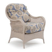 6701 Outdoor Wicker Lounge Chair in Sand White Finish.