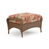 6708 Outdoor Wicker Ottoman in Driftwood Finish.