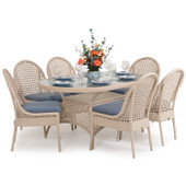 6700 Series Outdoor Wicker 7PC Dining in White Sand Finish.