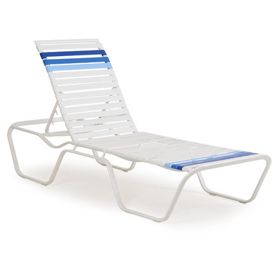 1609 Patio Chaise Lounge White Blue