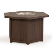 Outdoor Wicker Table With Firepit  Brown Walnut