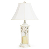 White Coral Over Glass Table Lamp