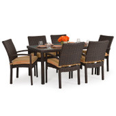 Stackable 7pc Patio Dining Set Tortoise Shell