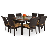 Stackable 9pc Patio Dining Set Tortoise Shell