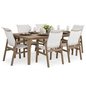 Outdoor 7PC Sling Dining Set Weathered Teak