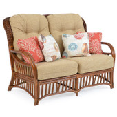 5502 High Back Rattan Loveseat Pecan Glaze