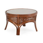 5527 Rattan Round Cocktail Table Pecan Glaze
