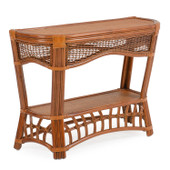 5514 Rattan Console Table Pecan Glaze