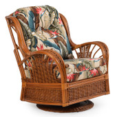 4495 Rattan High Back Swivel Glider Pecan Glaze Satin