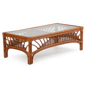 4429 Rattan Cocktail Table Pecan Glaze Satin