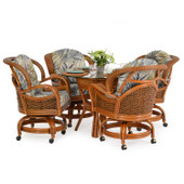 3500 Series 5 Piece Rattan Swivel Tilt Caster Dining Set